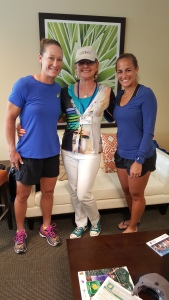Deb Dutcher with Monica Puig and Sam Stosur of the WTA